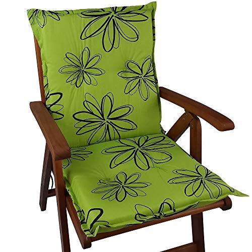 DILUMA Niedriglehner Auflage Naxos für Gartenstühle 98x49 cm Blume Grün - 6 cm Starke Stuhlauflage mit Komfortschaumkern und Bezug aus Baumwoll-Mischgewebe - Made in EU mit ÖkoTex100
