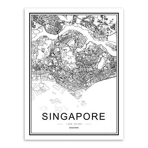 JWJQTLD Druck Auf Leinwand,Moderne Berühmte Welt Stadtplan Singapur Posterdruck Nordic Linving Wand Kunst Bild Leinwand Gemälde Home Decor