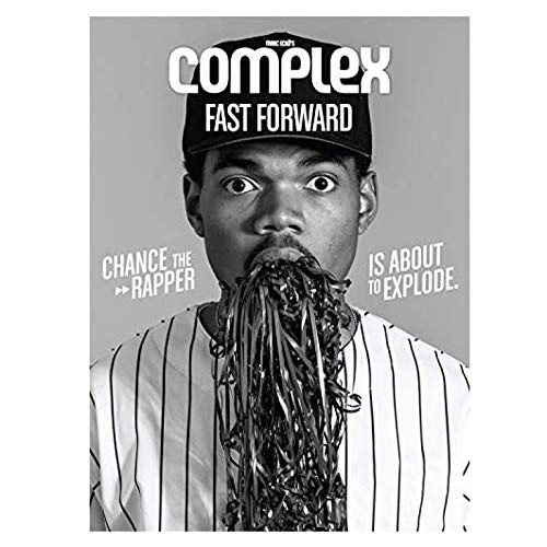 Lsjuee Chance The Rapper HD Print Black and White Posters and Prints Wall Art Canvas Painting for Living Room Home Decor -50x70cm No Frame