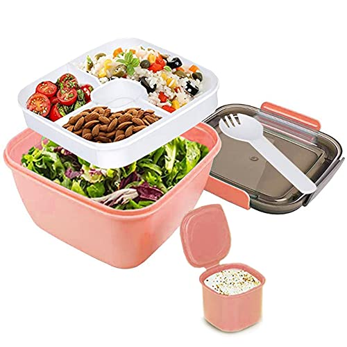 Salad Lunch Container,51Oz Salad Bowls with Lids,3 Compartments for Salad Toppings and Snacks,2 Oz Sauce Container for Dressings and Built-In Reusable Fork (Pink)