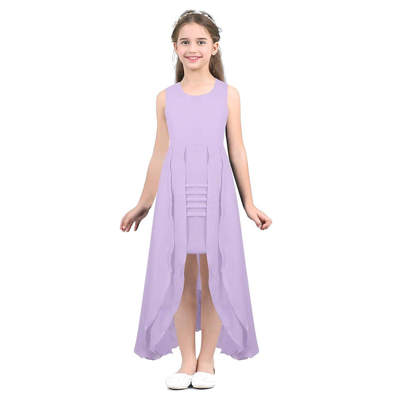 (アゴキー) Agoky 子供 女の子 シフォン ノースリーブ カジュアル ドレス パーティー ビーチ 卒園式 結婚式 ウェディング 子供ドレス