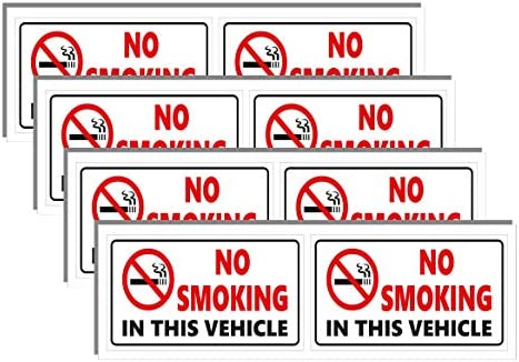 No Smoking Stickers in This Vehicle Pack of 8 Decals Made of Vinyl with UV Printing Non Fade product image