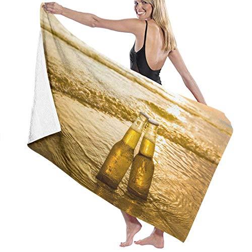 Grande Suave Toalla de Baño Manta,Gradiente Amarillo Amor Botellas Cerveza en la Playa Hora del Atardecer Alcohol Comida Bebida Parques Arena Mar Bar Bebida,Hoja de Baño Toalla de Playa,52' x 32'