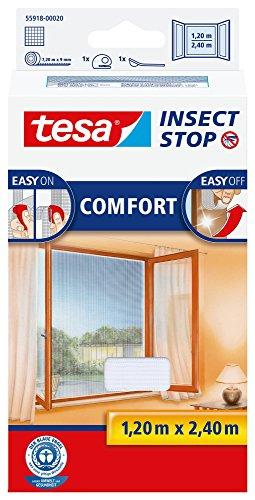 tesa Insect Stop COMFORT Fliegengitter für bodentiefe Fenster - Insektenschutz selbstklebend - Fliegen Netz ohne Bohren - weiß (leichter sichtschutz), 120 cm x 240 cm