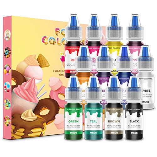 Colorante Alimentare liquido 12 Colori Coloranti alimentari Concentrati per Cuocere Decorare Glassare e Cucinare
