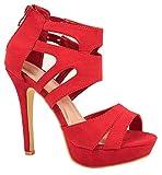 Elara Damen Pumps offen Stilettos High Heels chunkyrayan LL85-Rot-35