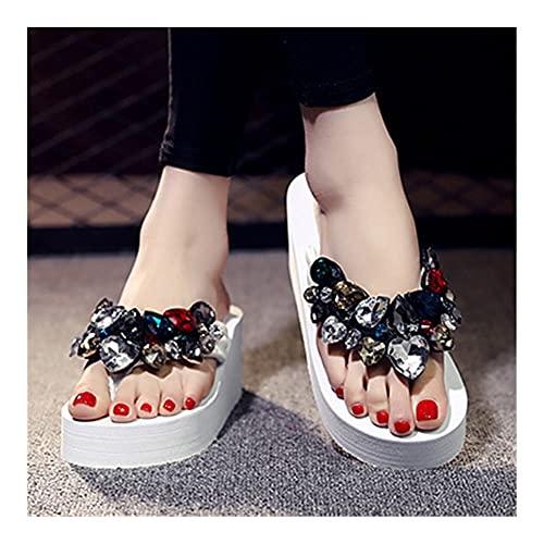 Nuevos Zapatos de Plataforma de Verano Sandalias de cuña Flip-Flops Color Color Gem Sandalias Casual Zapatos Sandalias de tacón Alto (Color : White, Shoe Size : 39)
