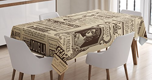 Ambesonne Paris Tablecloth, Vintage Old Historic Newspaper Journal French Paper Lettering Art Design, Rectangular Table Cover for Dining Room Kitchen Decor, 60' X 90', Brown Caramel