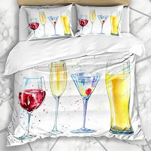 LIS HOME Bettbezug-Sets Glas Grafik Ale Champagnemartini Wein Design Bier Ungefilterte alkoholische Texturen Berry Food Drink Weiche Mikrofaser Dekoratives Schlafzimmer mit 2 Kissen Shams