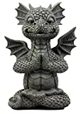 """Ebros Gift Zen Meditating Fiery Yoga Dragon Garden Statue Faux Stone Resin Finish 10"""" H Dungeons and Dragons Fantasy Sculpture"""