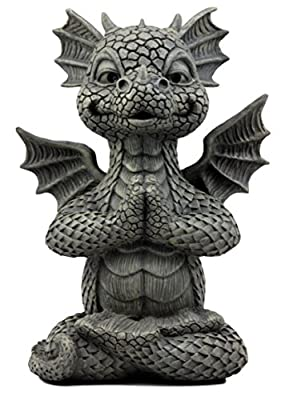 "Ebros Gift Zen Meditating Fiery Yoga Dragon Garden Statue Faux Stone Resin Finish 10"" H Dungeons and Dragons Fantasy Sculpture"