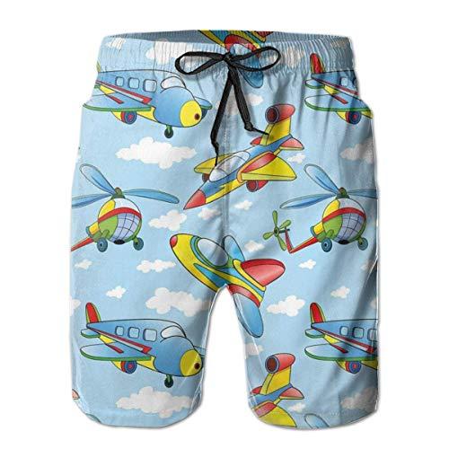 Herren Elastic Waist Badehose Perfect Summer Athletic Beach Badeanzug Cartoon Flugzeuge Hubschrauber XL