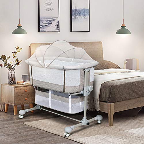 Bedside Sleeper Bedside Crib, Baby Bassinet 3 in 1 Portable Travel Baby Crib Baby Bed with Breathable Net and Mattress, Adjustable Portable Bed for Infant, Baby Girl Boy (Grey)