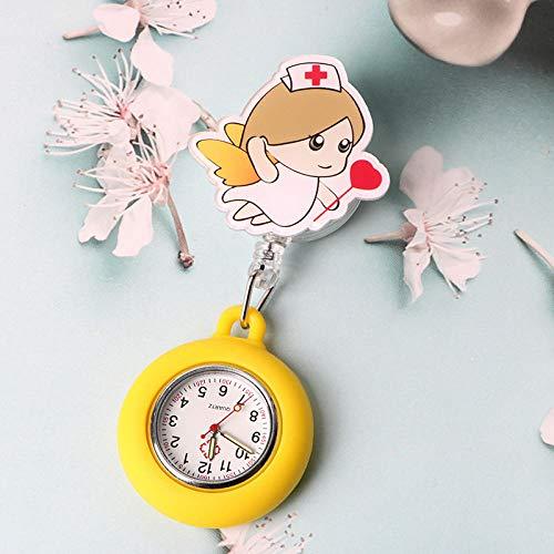 B/H Medico Reloj de Bolsillo para Doctor,Reloj de Bolsillo retráctil para Examen de Estudiante de Dibujos Animados,Doctor Silicone Luminous Pocket Watch-S04,Reloj de Bolsillo Enfermera Cuarzo