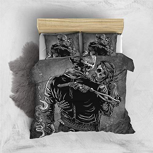 Poulbee Juego de ropa de cama para niños y niñas (220 x 230 cm, funda nórdica y 50 x 75 cm), diseño de calavera