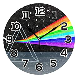 JERECY Colorful Triangle Geometric Abstract Prism Wall Clock Silent Non Ticking Acrylic 9.45 Inch Home Decorative Office School Round Clock Art