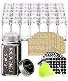 SWOMMOLY 42 Glass Spice Jars with 713 Spice Labels, Chalk Marker and Funnel Complete Set. 42 Square Glass Jars 4oz, Airtight Cap, Pour/sift Shaker Lid
