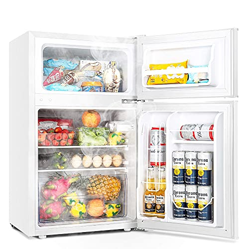 Euhomy Mini Fridge with Freezer, 3.2 Cu.Ft Mini refrigerator with freezer, Dorm fridge with freezer 2 door For Bedroom/Dorm/Apartment/Office - Food Storage or Cooling Drinks(NEW White).