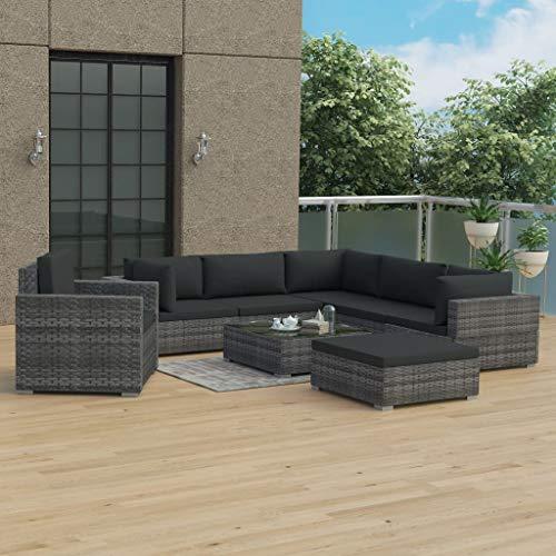 Festnight 8-TLG. Garten-Lounge-Set mit Auflagen Poly Rattan Grau Rattan-Gartensofagarnitur Gartenmöbel Sofa Gartenset Gartensofa