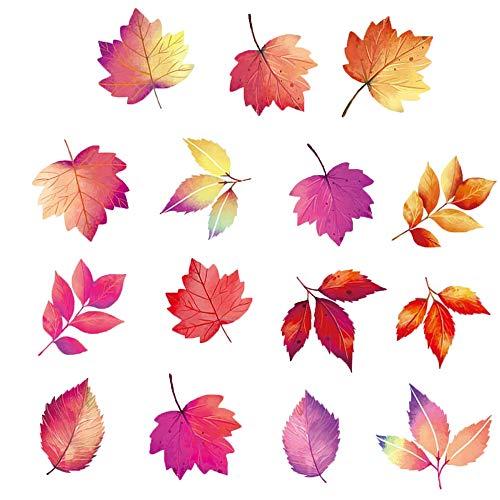 15 Stück Fenster-Aufkleber für Thanksgiving, Fenster-Aufkleber, Fensteraufkleber Ahornblätter, PVC Creative Herbst Ahorn Blätter Muster Wandtattoo für DIY, Weihnachten, Thanksgiving, Fensterdekoration