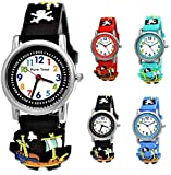 Pure Time Kinder Uhr Jungenuhr Mädchenuhr Silikon Kautschuk Schul Uhr Jungen Mädchen Armbanduhr Uhr mit 3D Piraten Sport Lern-Uhr Schul-Uhr Blau Hellblau Grün Türkis Schwarz Rot (schwarz)