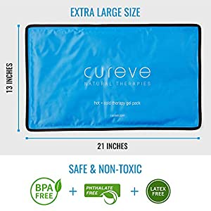 Extra Large Hot and Cold Therapy Gel Pack with Cover by Cureve (21″ x 13″) – Reusable Ice Pack for Injuries, Aches and Pain on Back, Legs, Shoulders and Arms