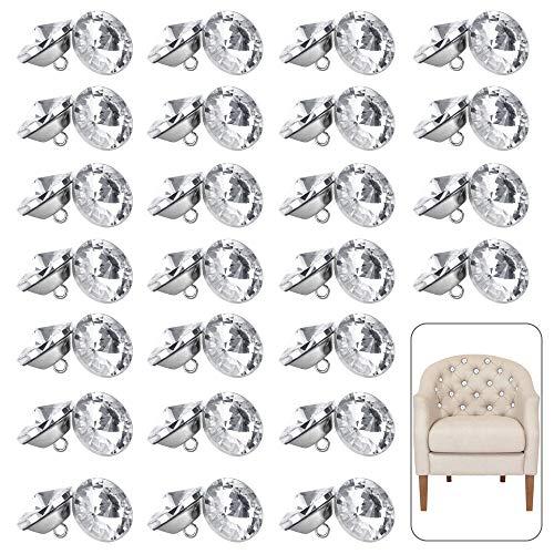 RMENOOR 50pcs Botones de Cristal en Forma de Diamante Botones del Sofá Botones de Diamantes de Imitación, 25mm, Botones de Cristal para Tapicería, Botones para Manualidades Botón Redondo Brillante
