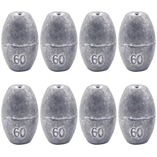 Glarks 8Pcs 60g Egg Fishing Sinker Weights Olive Bass Casting Hollow Egg Bullet Weight Set (60g/2.1oz-8pcs)
