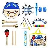 BlueFire 11 Stück Musikinstrumente Kinder, Holz Percussion Set Rhythmus Set Musical Instruments Schlagzeug Schlagwerk Früherziehung Musik Kinderspielzeug Geschenke für Kinder