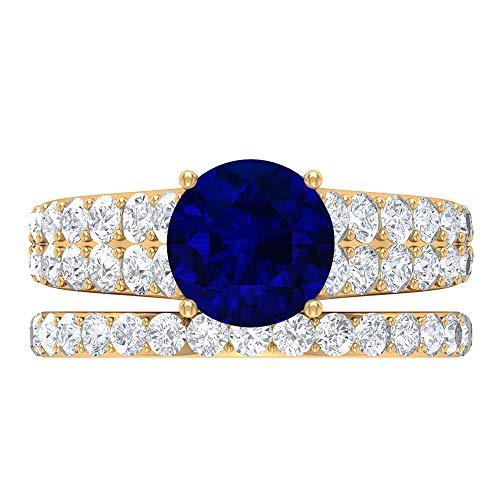 Anillo solitario para novia, 4.03 piedras preciosas redondas, D-VSSI Moissanite 8 MM zafiro difuso, anillo cónico con piedras laterales, banda de eternidad dorada, 14K Oro amarillo, Size:EU 56