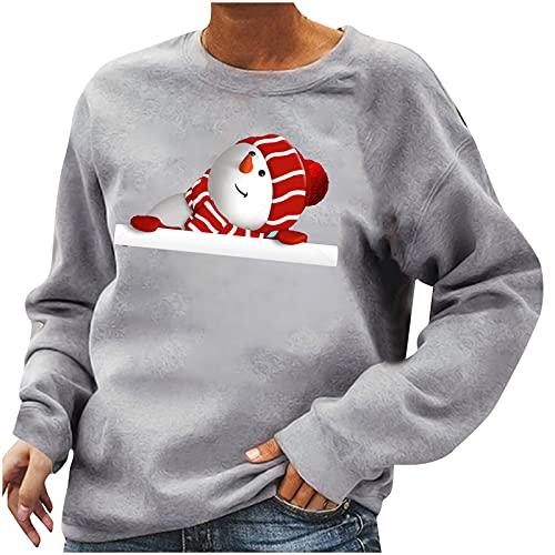 Christmas Shirts for Women Crewneck Sweatshirts Long Sleeve Tops Cute Christmas Snowman Print Pullover Tunic Fall Blouse Gray