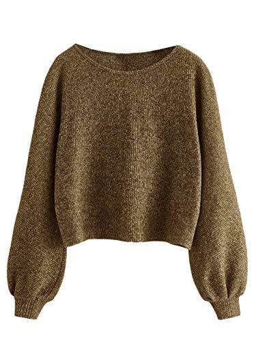 SweatyRocks Women's Casual Solid Ribbed Knit Raglan Long Sleeve Crop Top T Shirt Khaki XS