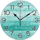 Orologio da Parete Diametro 10 Pollici Verde Acqua Blu Turchese Deck in Legno Batteria funzionante Non ticchettio Silenzioso Rustico Fattoria Decorazione retrò
