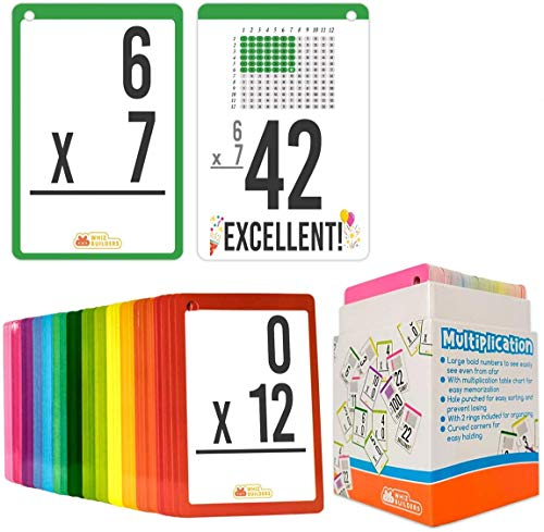 WhizBuilders Multiplication Flash Cards for 3rd Grade Toddlers : 169 Math Manipulatives FlashCards, Multiplication and Division Times Table, Learning Card Games Kids, 1st 2nd 4th 5th 6th Grade