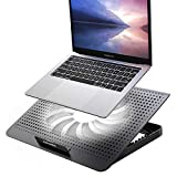 ICE COOREL Aluminum Laptop Cooling Pad with One Big Quiet Cooling Fan, Laptop Cooler Stand with 7 Height Adjustable, Notebook Cooler pad for Laptop 15.6 14 13 12 Inch, Two USB Ports (Black)