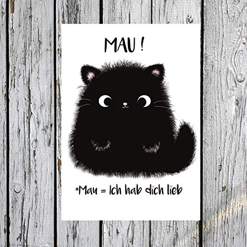 TinyTami★Katzen Postkarte★Kater MOO Mau?★Ich hab dich lieb ★ Grußkarte★Liebe★Katze★ 100% Handmade