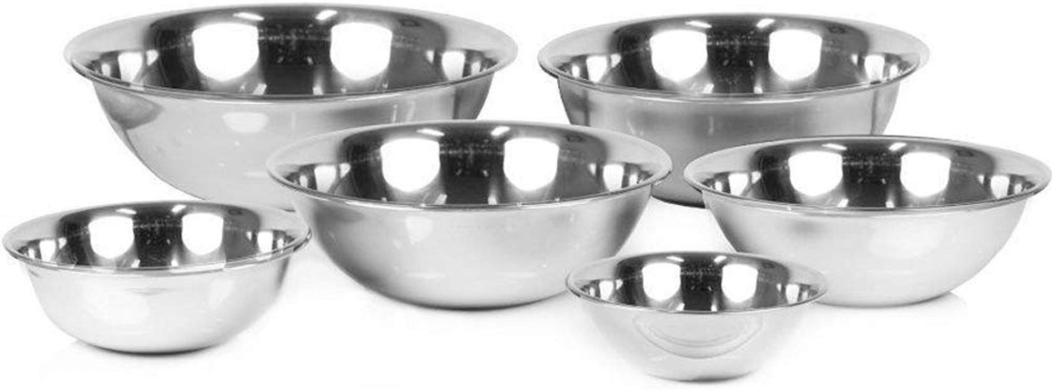 Set Of 6 Stainless Steel Mixing Bowl Set By Tezzorio 3 4 1 1 2 3 4 5 8 Quart Polished Mirror Finish Nesting Flat Base Bowls Commercial Mixing Bowls Prep Bowls