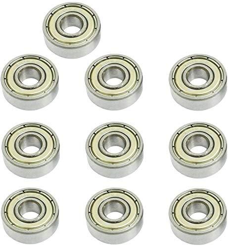 ZHITING Cuscinetto a Sfere 606ZZ 6 x 17 x 6 mm, 10 Pezzi, Cuscinetti a Sfera in Miniatura con Doppia schermatura Metallica, Misura per Cuscinetti per Skateboard, Spinner (Confezione da 10)