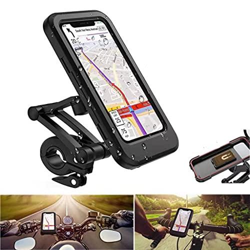 Soporte de bicicleta, soporte de teléfono inteligente impermeable con pantalla táctil, rotación de 360 °, altura ajustable, adecuada para teléfonos móviles por debajo de 6,7 pulgadas, compatible con