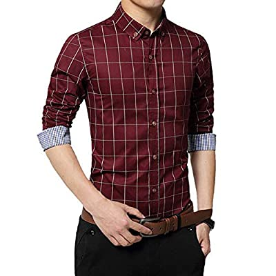 F.Lashes Men Fashion Button Down Dress Shirt Simple Plaid Shirt