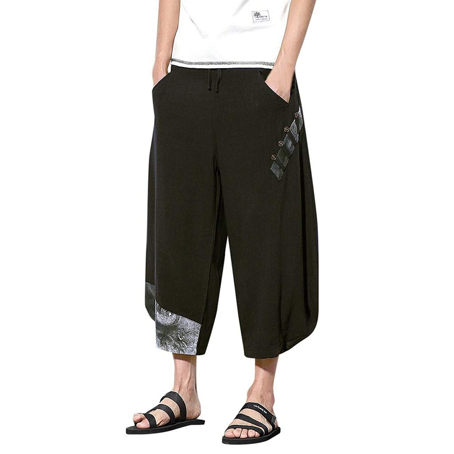 BingYELH Men's Patchwork Shorts Loose Linen Harem Capri Pants Drawstring Gym Fitness Joggers Workout Yoga Pants