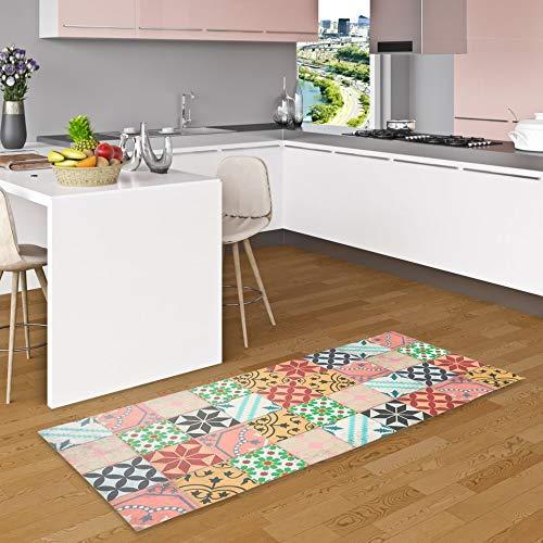 Pergamon Vinyl Teppich Küchenläufer Evora Mosaik Fliesenoptik Bunt in 2 Größen