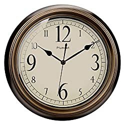 Plumeet Large Retro Wall Clock - 13'' Non Ticking Classic Silent Clocks Decorative Kitchen Living Room Bedroom - Battery Operated (Big Numbers)