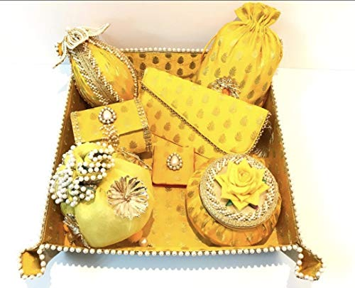 Crafting with Love a Handmade Brocade Tray Trousseau Set in Yellow , nariyal , matki Box , Bangle Box , Cash Envelope , Tissue potli , Coin case , Foldable Tray,Brocade potli.