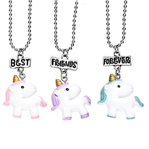 Oaonnea 3 PCS Best Friends Forever Necklace Set (unicorn)