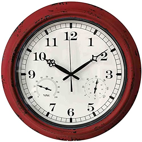"DSADDSD"" 18 Reloj de Pared al Aire Libre Grande de Pulgada con termómetro e higrómetro Combo, Reloj Impermeable sin ticipo de Vintage, Reloj de jardín de Metal silencioso (Size : Red)"