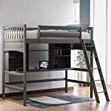 SOFTSEA High Loft Bed with Desk, Storage Shelves and Ladder Twin, Wood Kid's Loft Bed Frame with Bookcase for Girls, Boys and Teenagers (Gray)