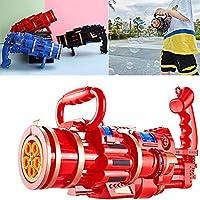 子供のための自動バブルマシン、ガトリングバブルマシン、夏の屋外活動のための自動ガトリングライトと音楽バブルマシン子供用マシン男の子と女の子のための屋外おもちゃ (red)