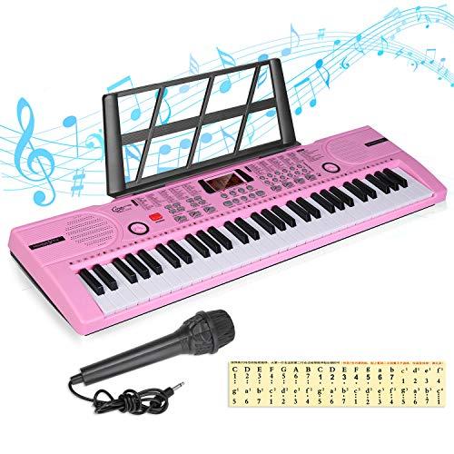 Kinder Piano Keyboard 61 Tasten Anfänger Elektronische Tastatur Tragbare digitale Musiktastatur, Musikinstrument für die frühe Bildung mit Mikrofon und Notenblattständer, Geschenk für Jungen Mädchen