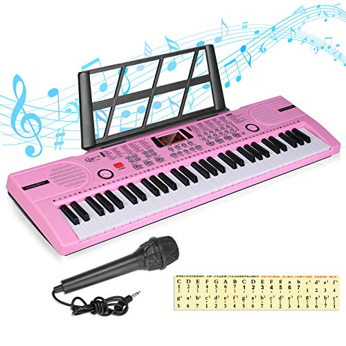 Hricane Kids Piano Keyboard, 61 Keys Beginner Electronic Keyboard Portable Digital Music Keyboard, Early Education Music Instrument with Microphone & Music Sheet Stand, Best Gift for Boy & Girl